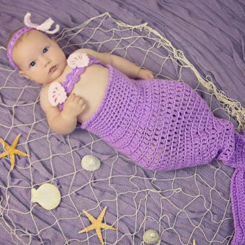 My little mermaid tail photo prop, costume, outfit newborn- 4 years, mermaid tail, headband and bikini top.