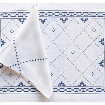 Anfa Blue Placemat and Napkin