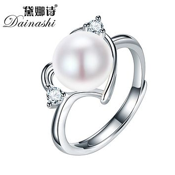 925 Sterling Silver Ring For Women love Ring 9-10 mm Genuine Freshwater Pearl Jewelry