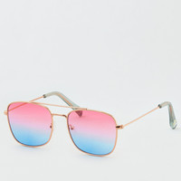 Ombre Metal Square Sunglasses, Multi