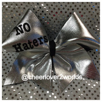 NO HATERS Cheer Bow Ribbon