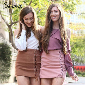 Simplee Strap ruffle chiffon blouse Women tops long sleeve female cool blouse shirt Sexy 2017 summer chemise casual femme blusas