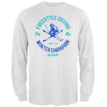 DCCKU3R Winter Games Freestyle Skiing Champion Germany Mens Long Sleeve T Shirt