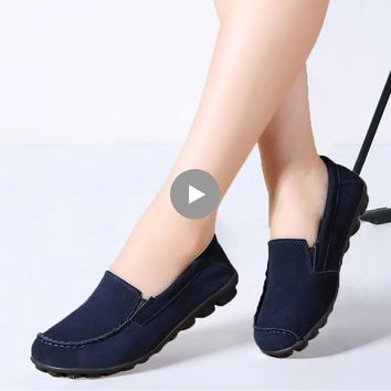 Women Flats Shoes Leather Suede Autumn Slip on Casual Ballet Flats Shoes Laides Boat Shoes for Female Moccasin Loafers Shoes 685