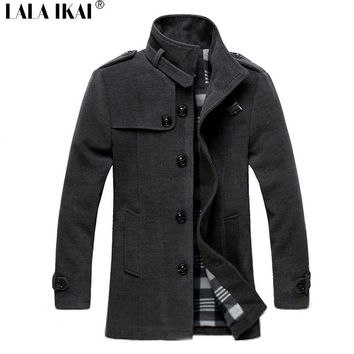 Men's Coats Jackets Wool Long Collar Male Winter Solid Slim