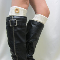 NEW IVORY Boot topper cable knit w/ real wood button cuff for boots stocking stuffers secret santa gifts Catherine Cole Studio Made in USA