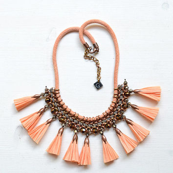 Apricot Raffia Tassel Necklace, Statement Necklace, Hand Dyed Rope, Crochet Necklace