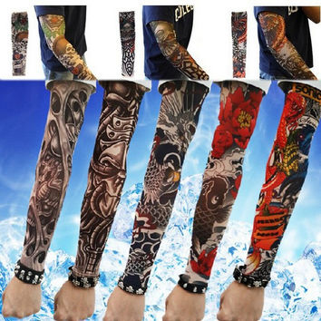13aa5f1f005 Free shipping New explosion Elastic Fake Temporary Tattoo Sleeve Designs  Body Arm Stockings Tatoo for Cool
