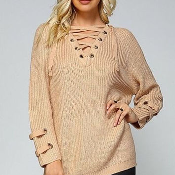 Boho cozy lace up women's oversized cable knit sweater cuff detail