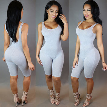 Summer Bandage Jumpsuit Sexy Blackless Playsuits Women Jumpsuits Rompers Casual Sleeveless Jumpsuit Ooveralls Combinaison Femme