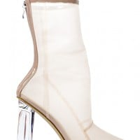 HEARTLESS NUDE MESH ANKLE BOOTS WITH PERSPEX HEEL