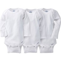 3-pack White Onesuits® Brand Long Sleeve Bodysuits with Mitten Cuffs