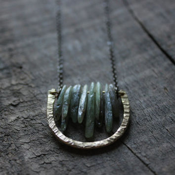 rustic raw moss green Kyanite Gemstone hammered brass necklace-geometric necklace-semi circle necklace-forest woodland Terrarium Necklace