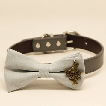 Gray dog bow tie collar, Pet wedding accessory, Charm White Rabbit from Alice in the Wonderland, Puppy Gift, Birthday