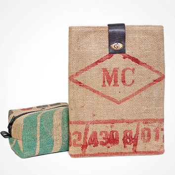 Recycled / Upcycled Imported Coffee Bean Burlap Jute Laptop Sleeve with Recycled Seat belt
