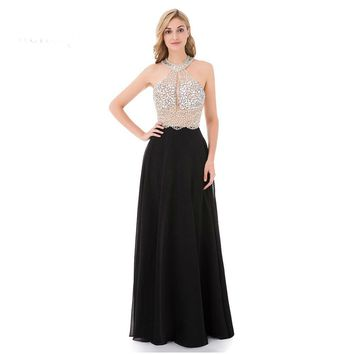 A-Line Black Prom Dress Long Halter Beaded Backless Formal Evening Gown Party Pageant Dresses