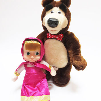 New Masha And Bear Toys Russian Language Baby Plush Toy Musical Dancing Talk Russia Dolls Birthday Gifts For Children Hot Sale