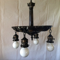 Antique Vintage Brass and Bronze Renaissance Chandelier Rewired 1910s