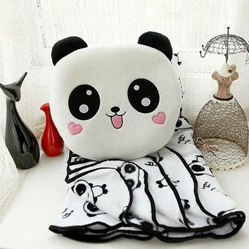 Secret Compartment Panda Big Eye Blanket and Pillow