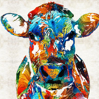 Colorful Cow Art - Mootown - By Sharon Cummings