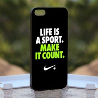 Nike Quotes Life, Print on Hard Cover iPhone 5 Black Case