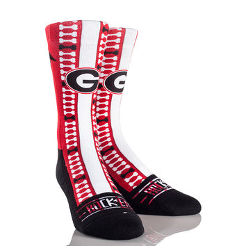 Rock 'Em Elite GEORGIA BULLDOGS - HELMET SERIES Licensed Crew Socks