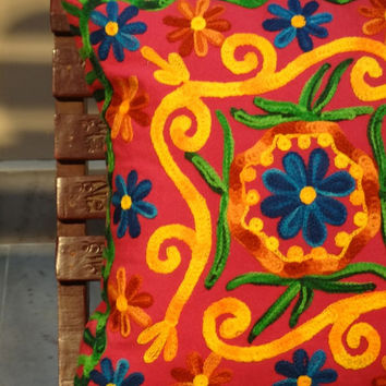 Embroidered Suzani Outdoor Cushion, Modern Outdoor Pillows, Cotton Cushion Cover, Living Room Decor, Floral Fabric, Bench Cushion