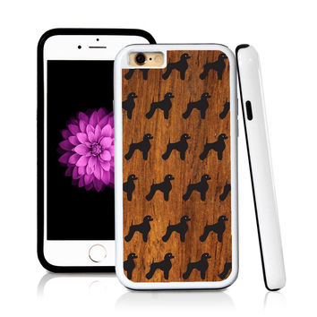 iPhone 6 case Poodle standing in Wood Texture with hard plastic & rubber protective cover