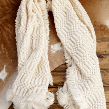 Trimmed Fringed Shrug Scarf, Cream