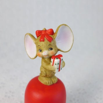 Lefton Mouse Bell, Vintage Collectible, Christmas Mouse, Red Porcelain