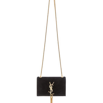 Saint Laurent | Small Monogramme Tassel Chain Bag in Black Suede www.fwrd.com