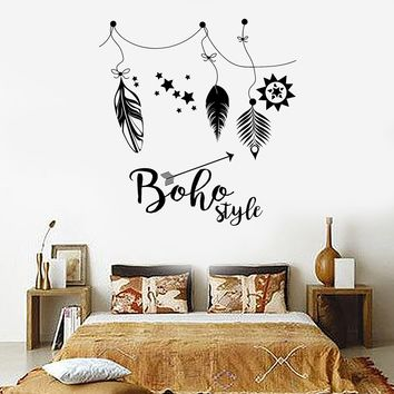 Vinyl Wall Decal Boho Style Hippie Ethnic Feathers Stickers Mural Unique Gift (ig3699)