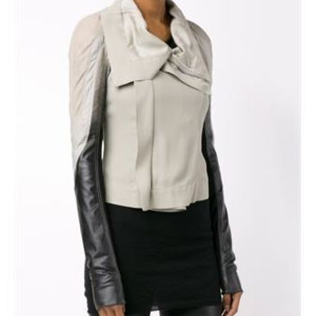 RICK OWENS   Shaded Sleeve Leather Jacket   brownsfashion.com   The Finest Edit of Luxury Fashion   Clothes, Shoes, Bags and Accessories for Men & Women