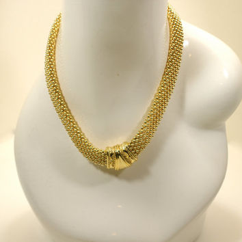 Gold Metal Beaded Choker Magnetic Closure Vintage 80s Necklace