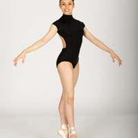 Free Shipping - Mock Turtleneck Cap Sleeve Leotard With Contrast Detail by NATALIE