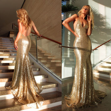 Custom Made 2017 Sexy deep V neck Backless Bling Bling Mermaid Prom Dress Gold Sequins Evening Dresses