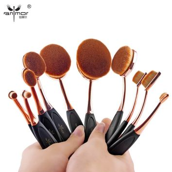 Oval Makeup Brush Set Professional Foundation Powder Brush Kits