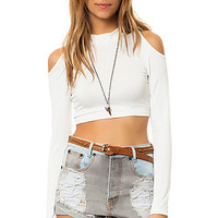 The Cut Shoulder Top in Solid White
