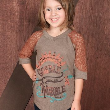 Southern Grace Gobble Till You Wobble 3/4 Sleeve With Orange Lace Kids Shirt