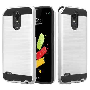 LG Stylo 3 Case, LG Stylo 3 Plus Slim Hybrid Dual Layer [Shock Resistant] Armor Case for Stylo 3 / Stylo 3 Plus - Brush Silver