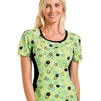 Buy Flexibles Womens Jewel Neck Dots A Doodle Print Scrub Top for $21.45