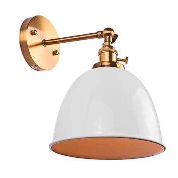Modern Vintage Bowl Wall Light Sconce Bell Shape Loft Lamp Fixtures E27 Socket with Switch (No Bulb Included)