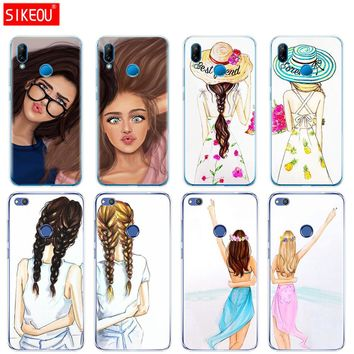 Silicone Cover Phone Case For Huawei P20 P7 P8 P9 P10 Lite Plus Pro 2017 P Smart Girls Brunette Blonde Best Friends BFF Matching