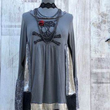 Vintage Skull Dress Tunic, Upcycled Shirt, Gypsy Junk, Boho Style Hippie, Bohemian, Edgy Urban Street Recycled Clothing