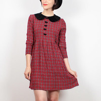 Vintage Red Tartan Plaid Dress 1990s Dress Soft Grunge Dress Babydoll Dress Velvet Collar School Girl Lolita 90s Dress S Small M Medium