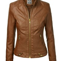 MBJ WJC747 Womens Dressy Vegan Leather Biker Jacket L CAMEL