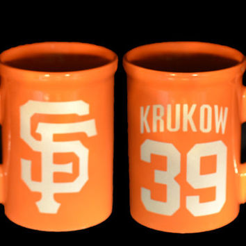 SF Giants Custom Etched Coffee Mug   - SF Logo With Jersey Name and Number - Pick your player!
