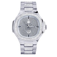 Men's Square Face Iced Out Stainless Steel Back Watch