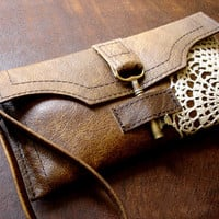 Boho Brown Leather Wristlet w/ Brass Antique Key & Crochet Lace Doily Appliqué - MADE TO ORDER