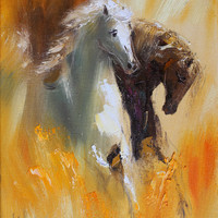 Horse wall art Original oil painting on canvas Impasto Palette knife Fine art Animals Stretched Modern artwork Home decor Expressionism